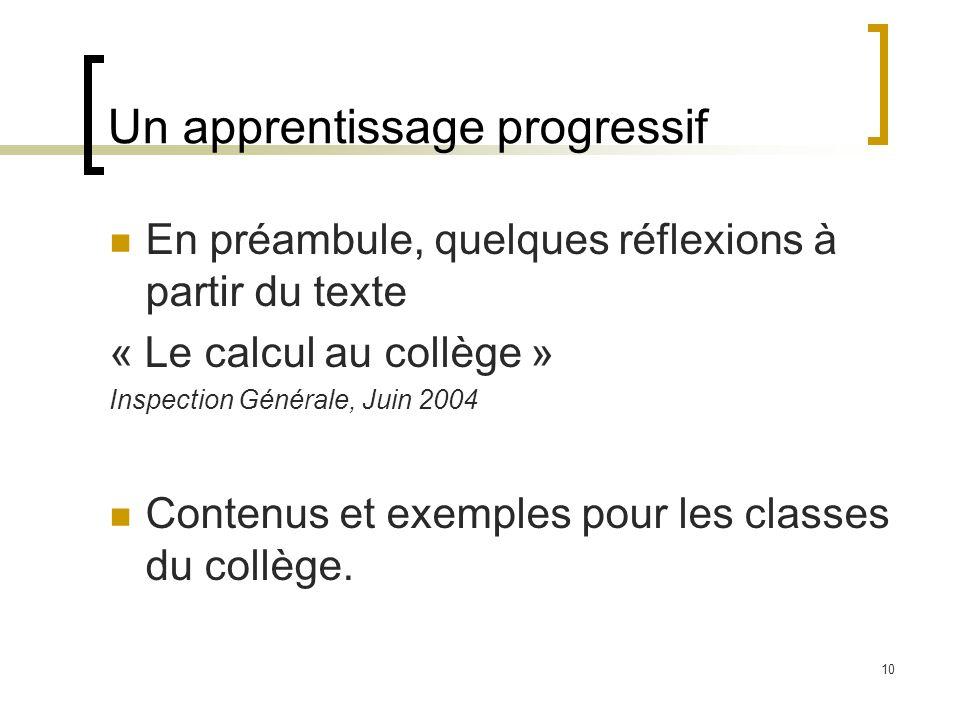 10 Un apprentissage progressif En préambule, quelques réflexions à partir du texte « Le calcul au collège » Inspection Générale, Juin 2004 Contenus et exemples pour les classes du collège.