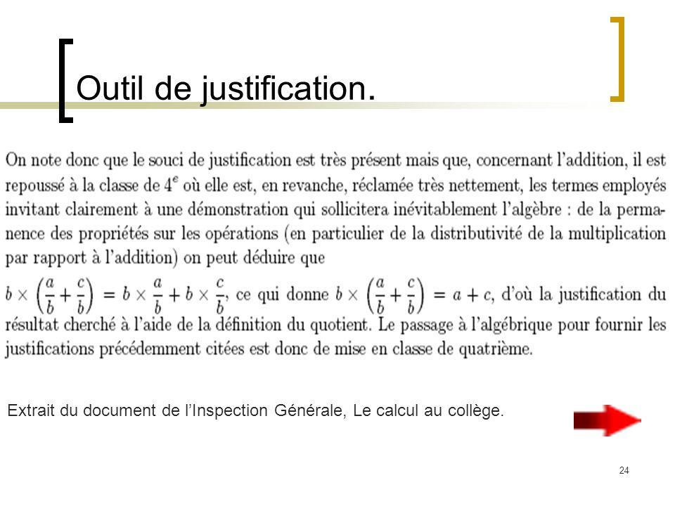 24 Outil de justification. Extrait du document de lInspection Générale, Le calcul au collège.