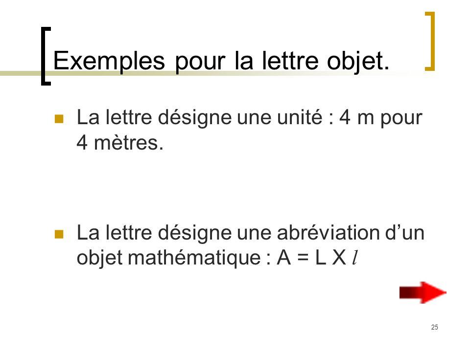 25 Exemples pour la lettre objet. La lettre désigne une unité : 4 m pour 4 mètres. La lettre désigne une abréviation dun objet mathématique : A = L X