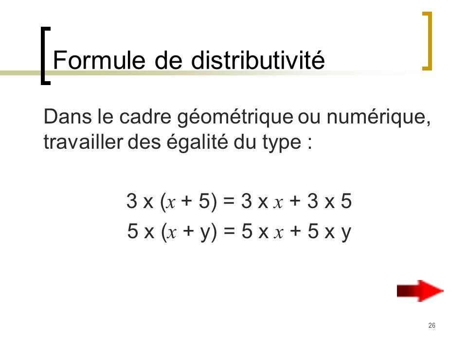26 Formule de distributivité Dans le cadre géométrique ou numérique, travailler des égalité du type : 3 x ( x + 5) = 3 x x + 3 x 5 5 x ( x + y) = 5 x x + 5 x y