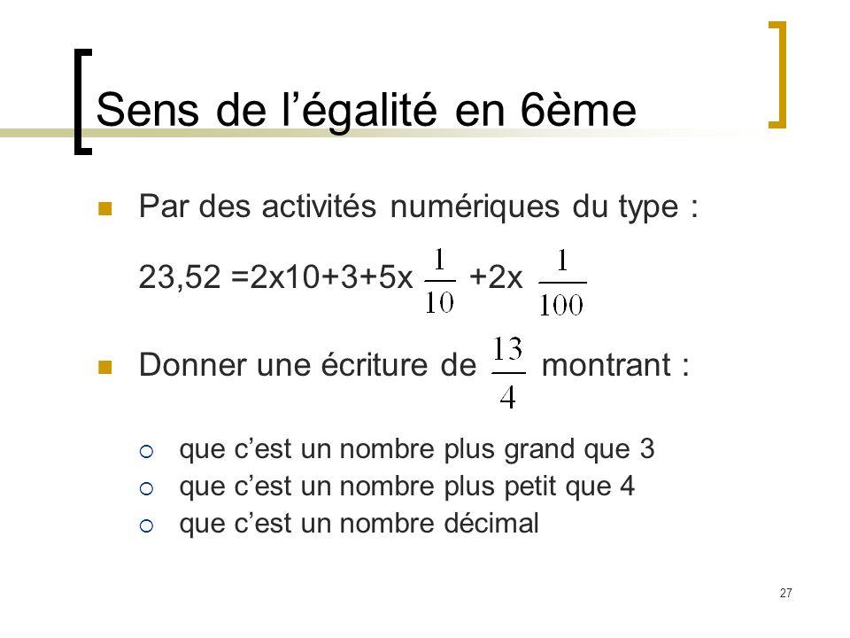27 Sens de légalité en 6ème Par des activités numériques du type : 23,52 =2x10+3+5x +2x Donner une écriture de montrant : que cest un nombre plus grand que 3 que cest un nombre plus petit que 4 que cest un nombre décimal