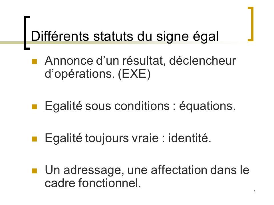 7 Différents statuts du signe égal Annonce dun résultat, déclencheur dopérations. (EXE) Egalité sous conditions : équations. Egalité toujours vraie :