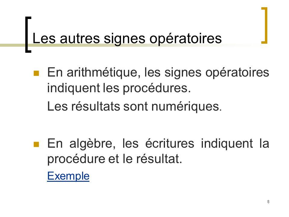 8 Les autres signes opératoires En arithmétique, les signes opératoires indiquent les procédures. Les résultats sont numériques. En algèbre, les écrit
