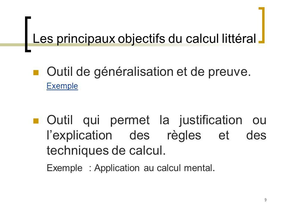 9 Les principaux objectifs du calcul littéral Outil de généralisation et de preuve. Exemple Outil qui permet la justification ou lexplication des règl