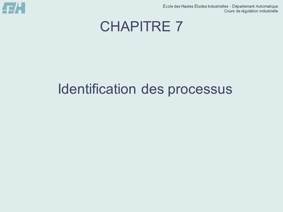 École des Hautes Études Industrielles - Département Automatique Cours de régulation industrielle Identification des processus Introduction : Jusquà maintenant, nous avons toujours considéré que nous connaissions la fonction de transfert du système ou les équations qui le régisse.