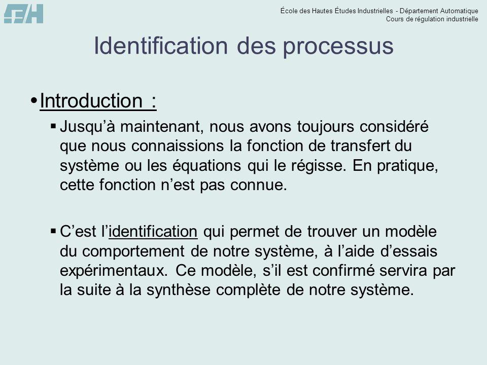 École des Hautes Études Industrielles - Département Automatique Cours de régulation industrielle Identification des processus Introduction : Jusquà ma
