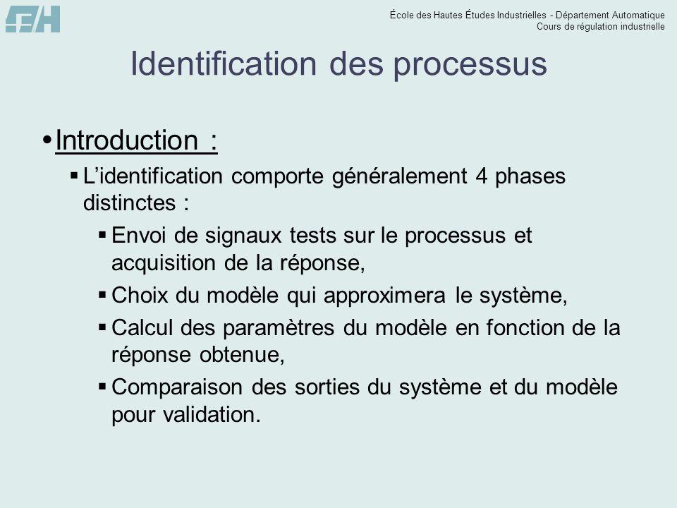 École des Hautes Études Industrielles - Département Automatique Cours de régulation industrielle Identification des processus 5 – Du calcul de Tu / Ta, on détermine lordre du système.