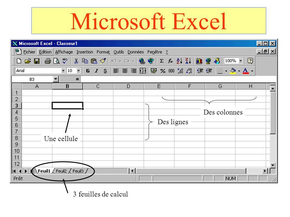Microsoft Excel 3 feuilles de calcul Une cellule Des lignes Des colonnes