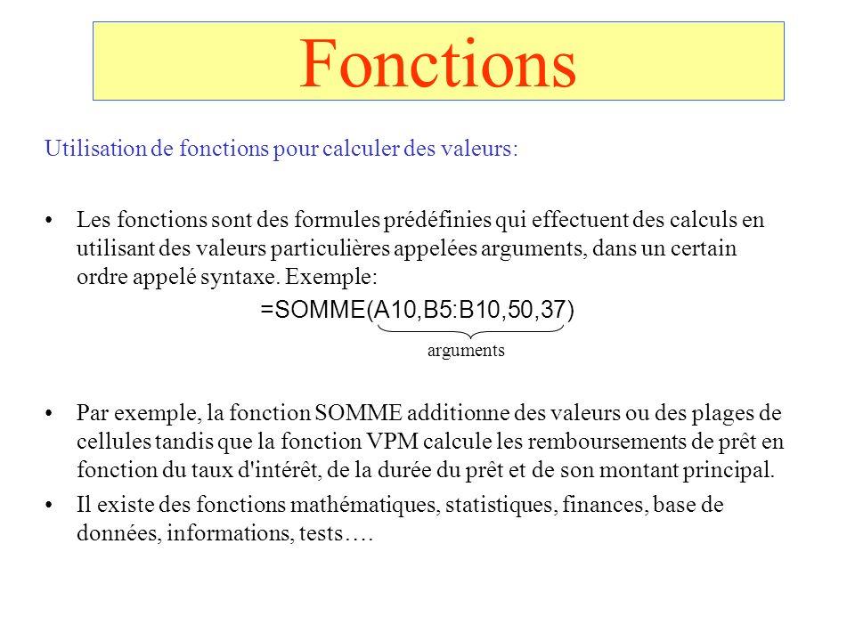 Fonctions Utilisation de fonctions pour calculer des valeurs: Les fonctions sont des formules prédéfinies qui effectuent des calculs en utilisant des