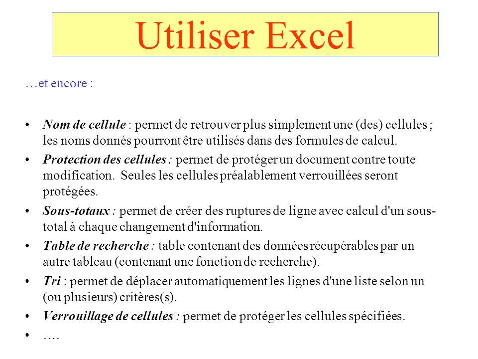 Utiliser Excel …et encore : Nom de cellule : permet de retrouver plus simplement une (des) cellules ; les noms donnés pourront être utilisés dans des