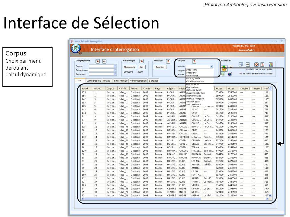 Prototype Archéologie Bassin Parisien Corpus Choix par menu déroulant Calcul dynamique Interface de Sélection