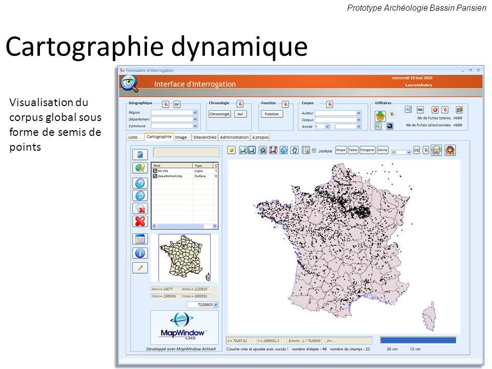 Cartographie dynamique Prototype Archéologie Bassin Parisien Visualisation du corpus global sous forme de semis de points