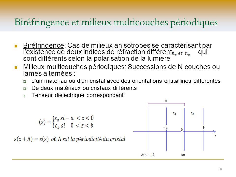 Biréfringence et milieux multicouches périodiques Biréfringence: Cas de milieux anisotropes se caractérisant par lexistence de deux indices de réfract