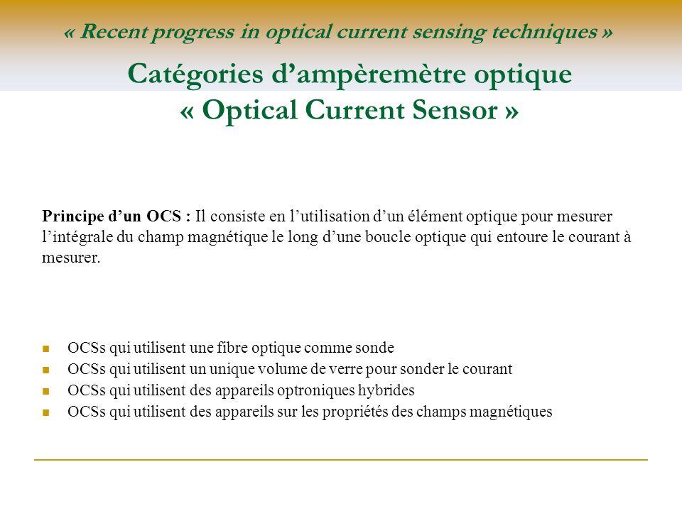 Catégories dampèremètre optique « Optical Current Sensor » OCSs qui utilisent une fibre optique comme sonde OCSs qui utilisent un unique volume de ver