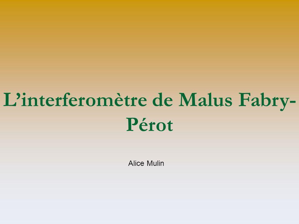 Linterferomètre de Malus Fabry- Pérot Alice Mulin