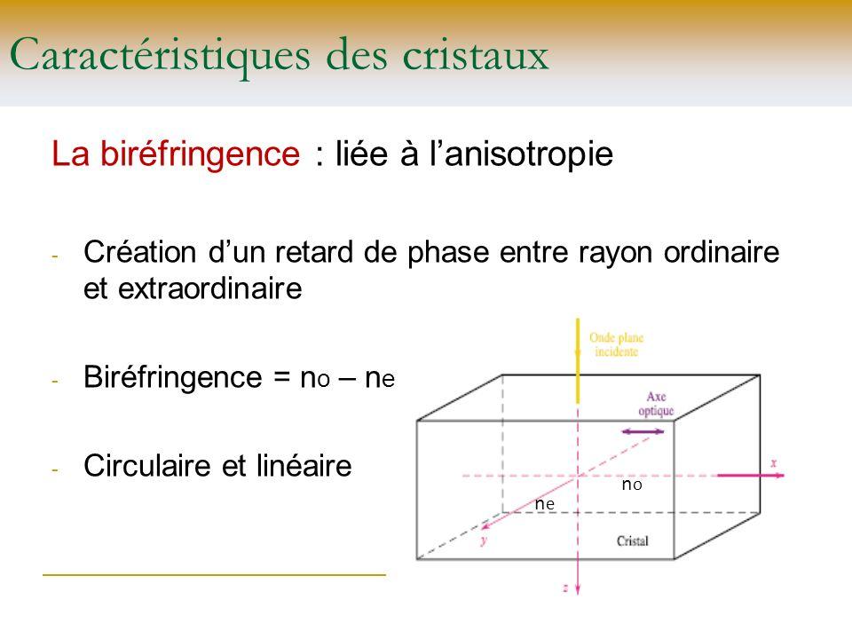 Caractéristiques des cristaux La biréfringence : liée à lanisotropie - Création dun retard de phase entre rayon ordinaire et extraordinaire - Biréfrin