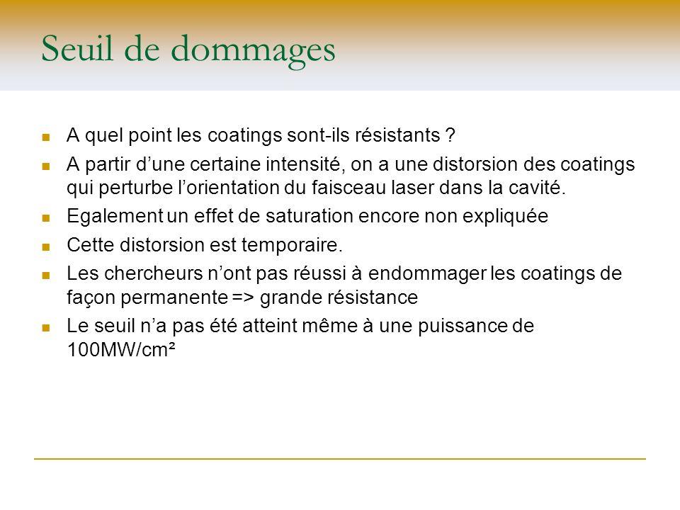 Seuil de dommages A quel point les coatings sont-ils résistants ? A partir dune certaine intensité, on a une distorsion des coatings qui perturbe lori