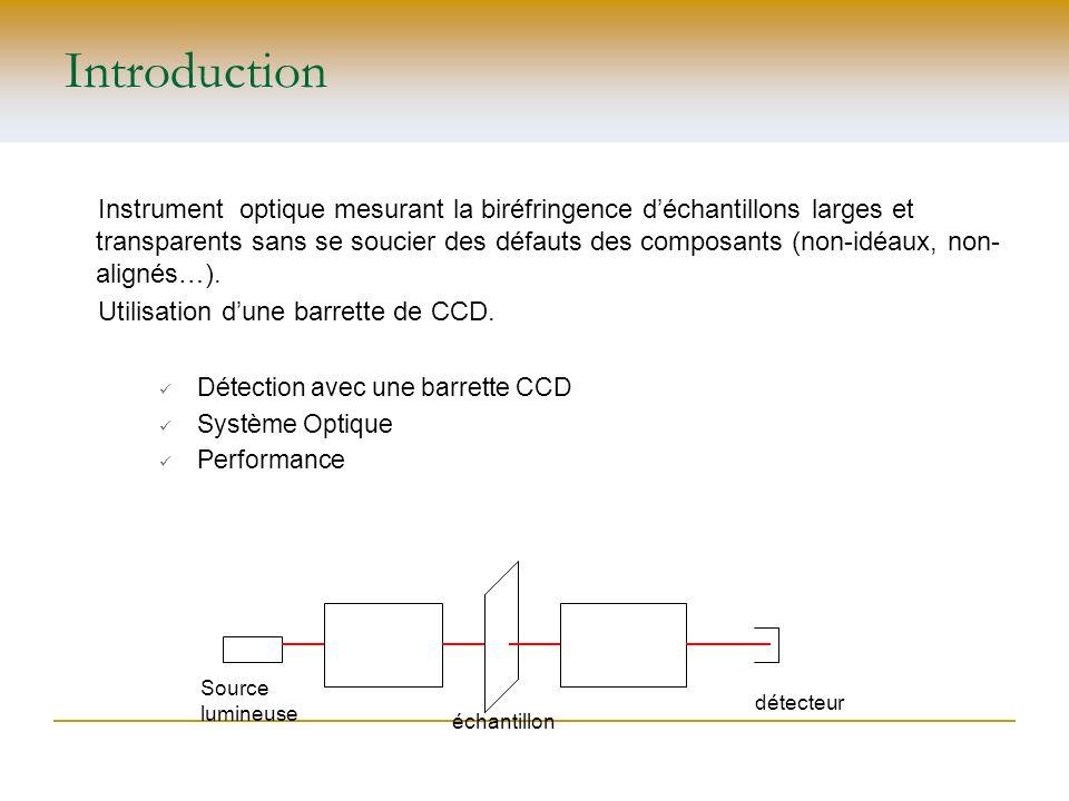 Introduction Instrument optique mesurant la biréfringence déchantillons larges et transparents sans se soucier des défauts des composants (non-idéaux,