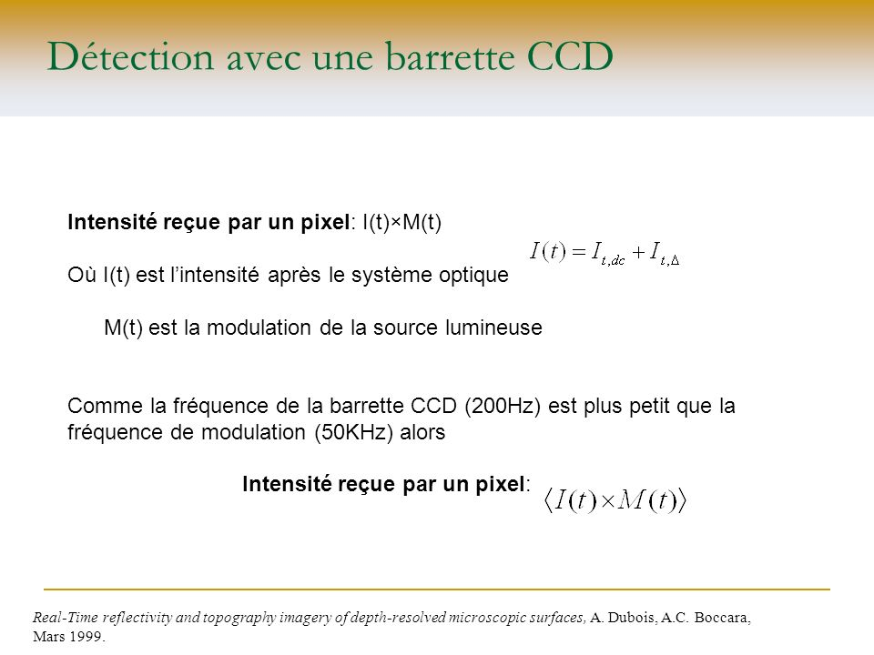Détection avec une barrette CCD Real-Time reflectivity and topography imagery of depth-resolved microscopic surfaces, A. Dubois, A.C. Boccara, Mars 19