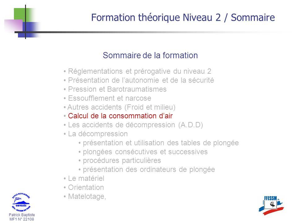 Patrick Baptiste MF1 N° 22108 Formation théorique Niveau 2 / Sommaire Sommaire de la formation Réglementations et prérogative du niveau 2 Présentation
