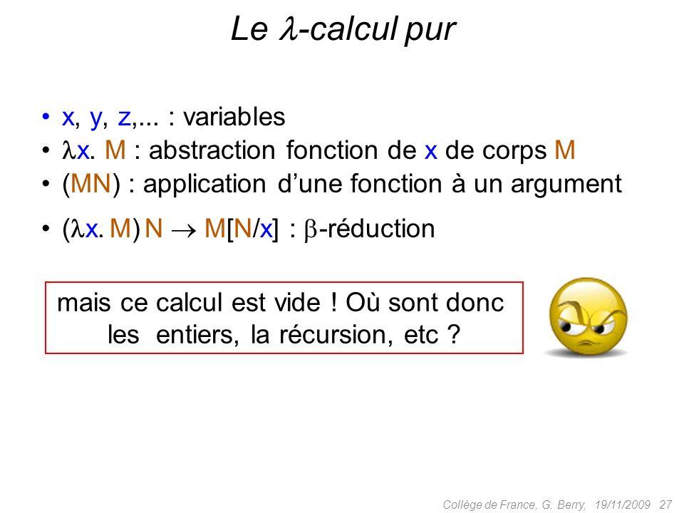 19/11/2009 27Collège de France, G. Berry, Le -calcul pur x, y, z,...