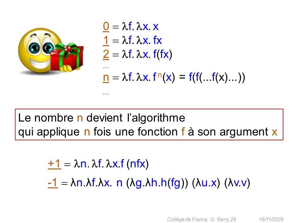 19/11/2009 28Collège de France, G. Berry, 0 f. x. x 1 f. x. fx 2 f. x. f(fx)... n f. x. f n (x) = f(f(...f(x)...))... +1 n. f. x.f (nfx) -1 λn.λf.λx.