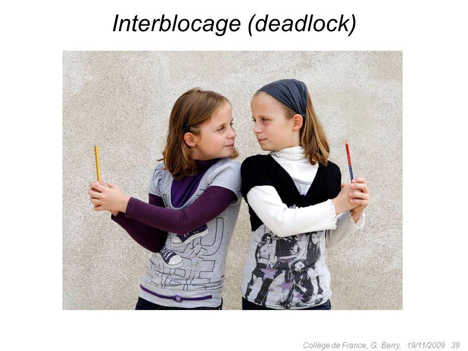 19/11/2009 39Collège de France, G. Berry, Interblocage (deadlock)