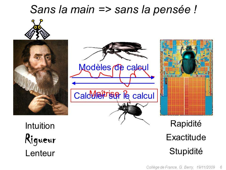 Rapidité Exactitude Stupidité Maîtrise . Modèles de calcul 19/11/2009 6Collège de France, G.