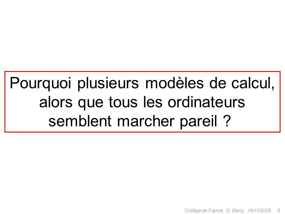 1.Modèles de la calculabilité 2.Modèles séquentiels 3.Modèles parallèles 4.Modèles diffus 19/11/2009 9Collège de France, G.