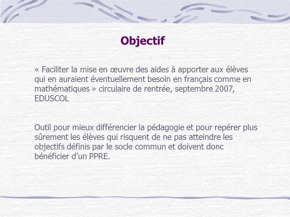 Objectif « Faciliter la mise en œuvre des aides à apporter aux élèves qui en auraient éventuellement besoin en français comme en mathématiques » circu
