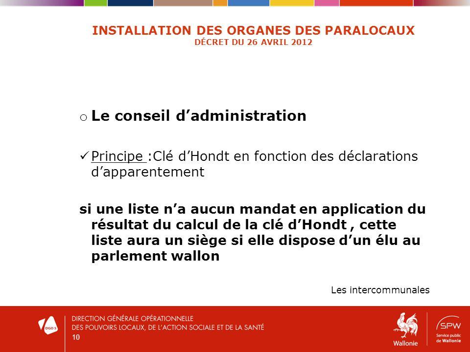 10 INSTALLATION DES ORGANES DES PARALOCAUX DÉCRET DU 26 AVRIL 2012 o Le conseil dadministration Principe :Clé dHondt en fonction des déclarations dapp