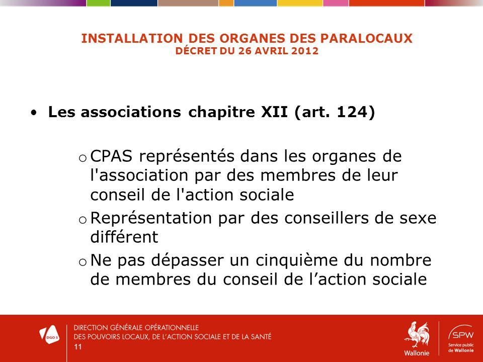 11 INSTALLATION DES ORGANES DES PARALOCAUX DÉCRET DU 26 AVRIL 2012 Les associations chapitre XII (art. 124) o CPAS représentés dans les organes de l'a