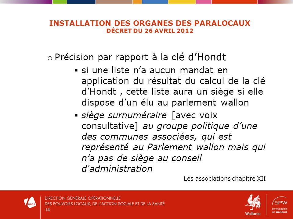 14 INSTALLATION DES ORGANES DES PARALOCAUX DÉCRET DU 26 AVRIL 2012 o Précision par rapport à la c lé dHondt si une liste na aucun mandat en applicatio