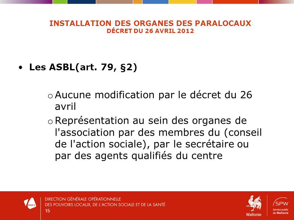 15 INSTALLATION DES ORGANES DES PARALOCAUX DÉCRET DU 26 AVRIL 2012 Les ASBL(art. 79, §2) o Aucune modification par le décret du 26 avril o Représentat