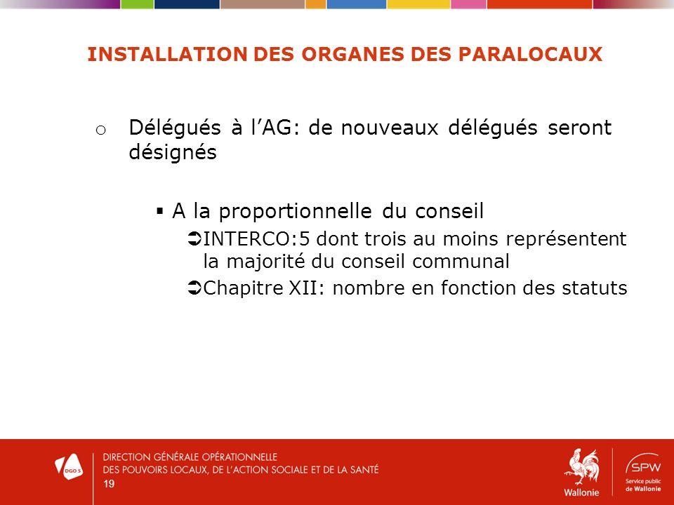 19 INSTALLATION DES ORGANES DES PARALOCAUX o Délégués à lAG: de nouveaux délégués seront désignés A la proportionnelle du conseil INTERCO:5 dont trois
