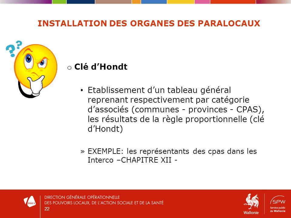 22 INSTALLATION DES ORGANES DES PARALOCAUX o Clé dHondt Etablissement dun tableau général reprenant respectivement par catégorie dassociés (communes -