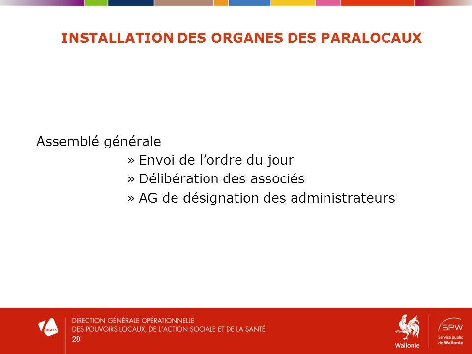 28 INSTALLATION DES ORGANES DES PARALOCAUX Assemblé générale »Envoi de lordre du jour »Délibération des associés »AG de désignation des administrateurs