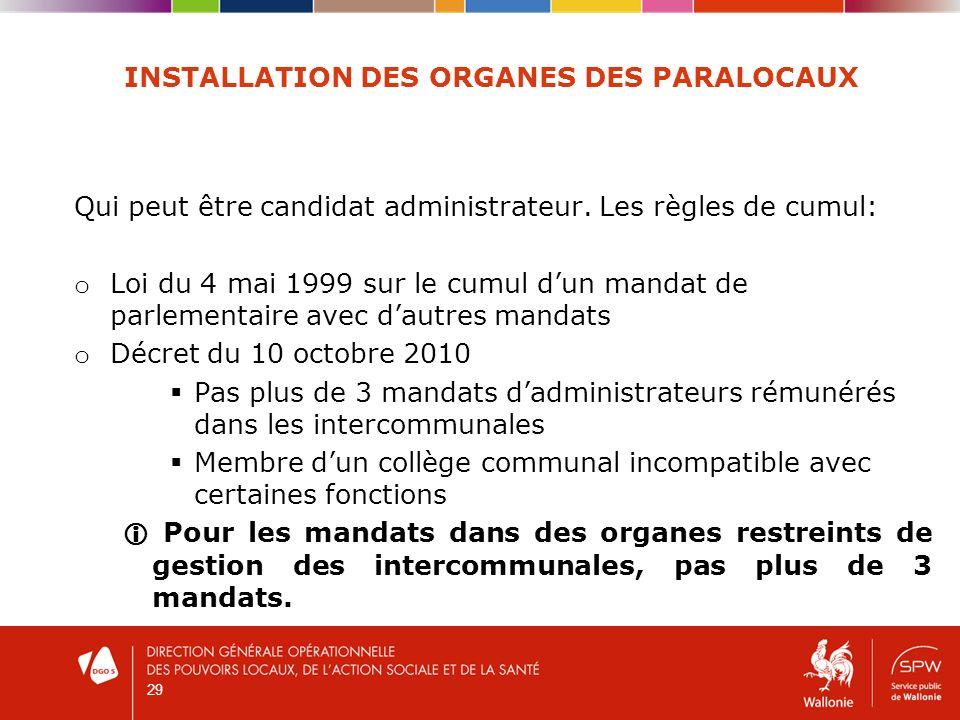 29 INSTALLATION DES ORGANES DES PARALOCAUX Qui peut être candidat administrateur.