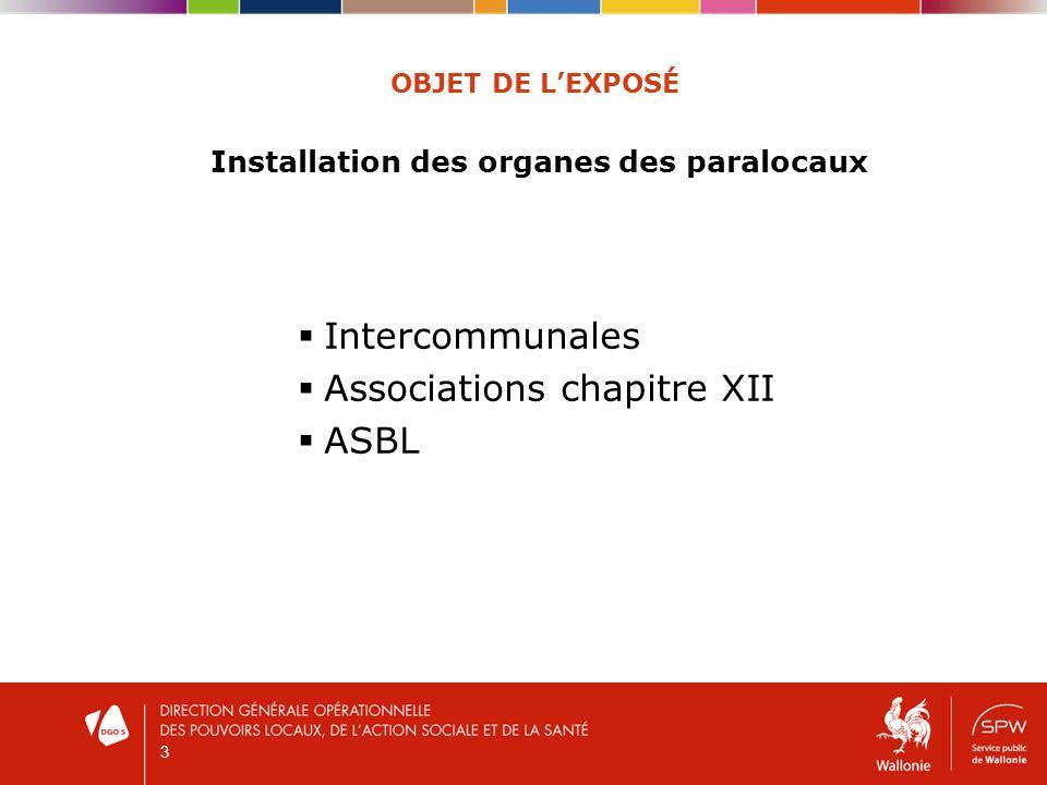 3 OBJET DE LEXPOSÉ Installation des organes des paralocaux Intercommunales Associations chapitre XII ASBL