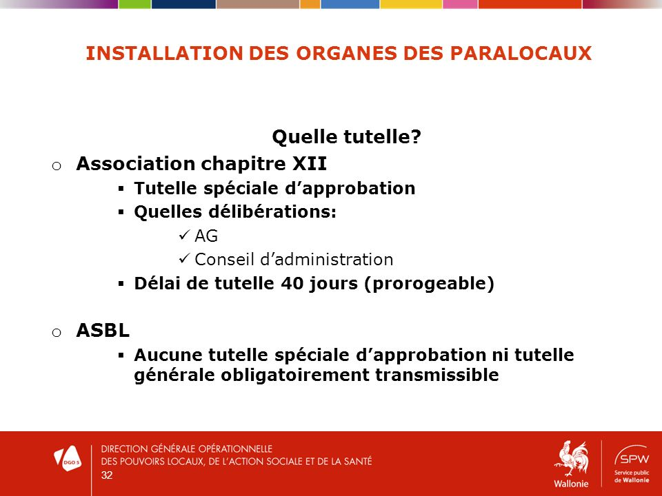 32 INSTALLATION DES ORGANES DES PARALOCAUX Quelle tutelle.