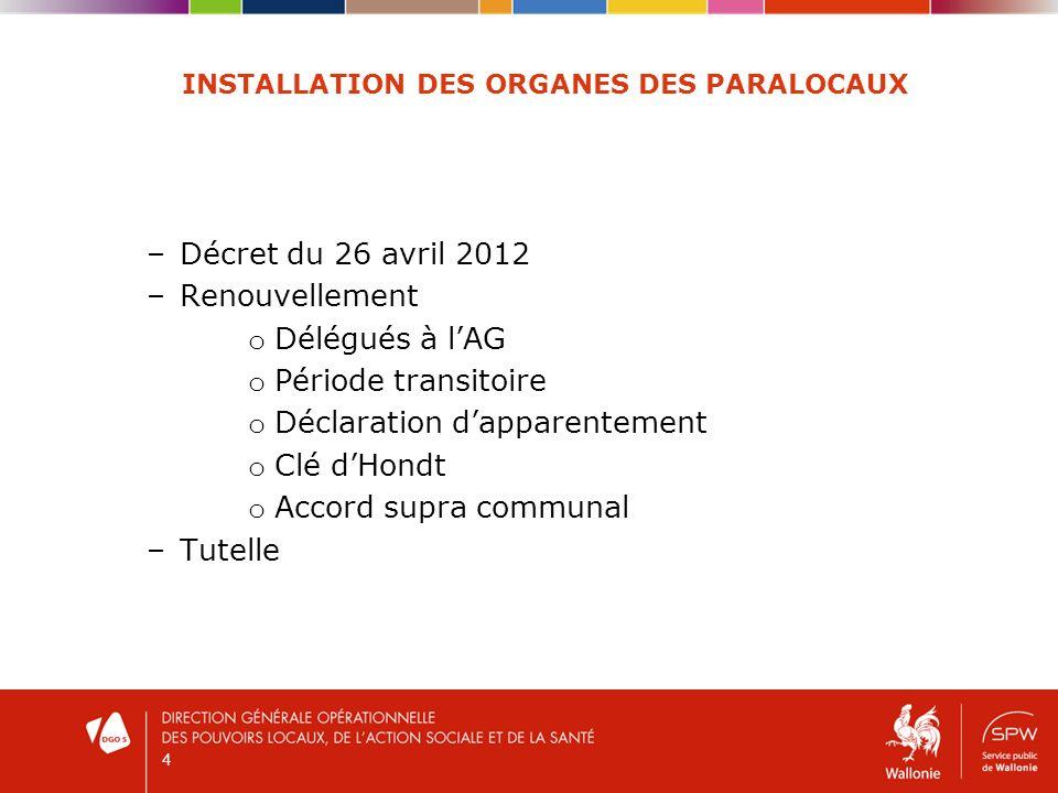 4 INSTALLATION DES ORGANES DES PARALOCAUX –Décret du 26 avril 2012 –Renouvellement o Délégués à lAG o Période transitoire o Déclaration dapparentement