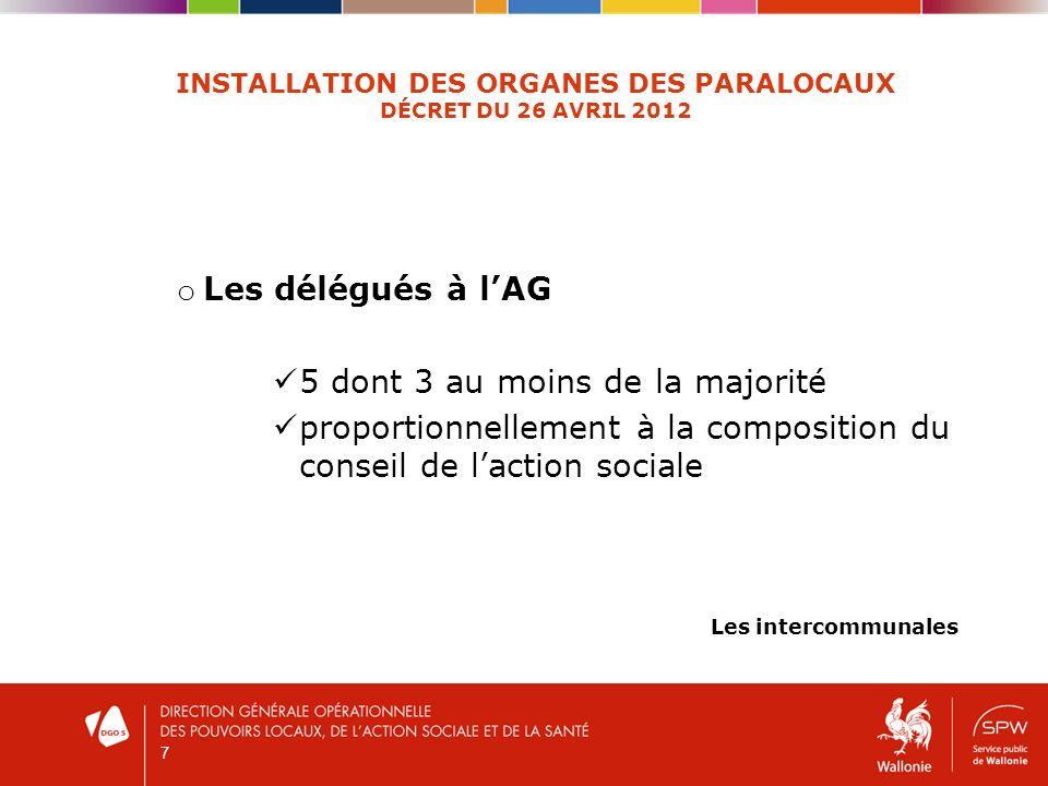 7 INSTALLATION DES ORGANES DES PARALOCAUX DÉCRET DU 26 AVRIL 2012 o Les délégués à lAG 5 dont 3 au moins de la majorité proportionnellement à la compo