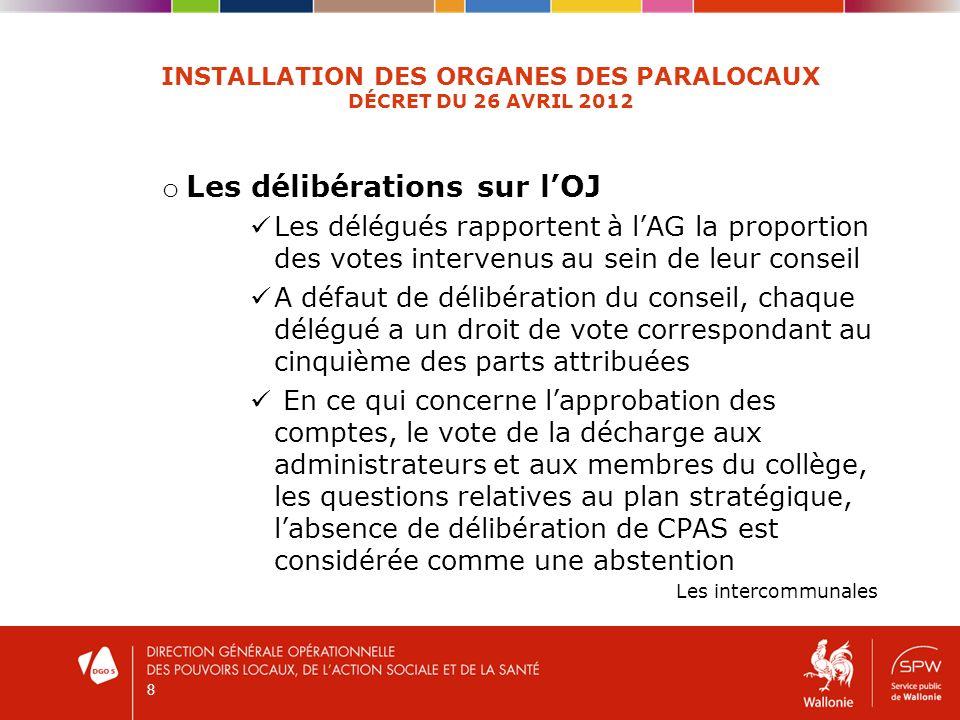 8 INSTALLATION DES ORGANES DES PARALOCAUX DÉCRET DU 26 AVRIL 2012 o Les délibérations sur lOJ Les délégués rapportent à lAG la proportion des votes in
