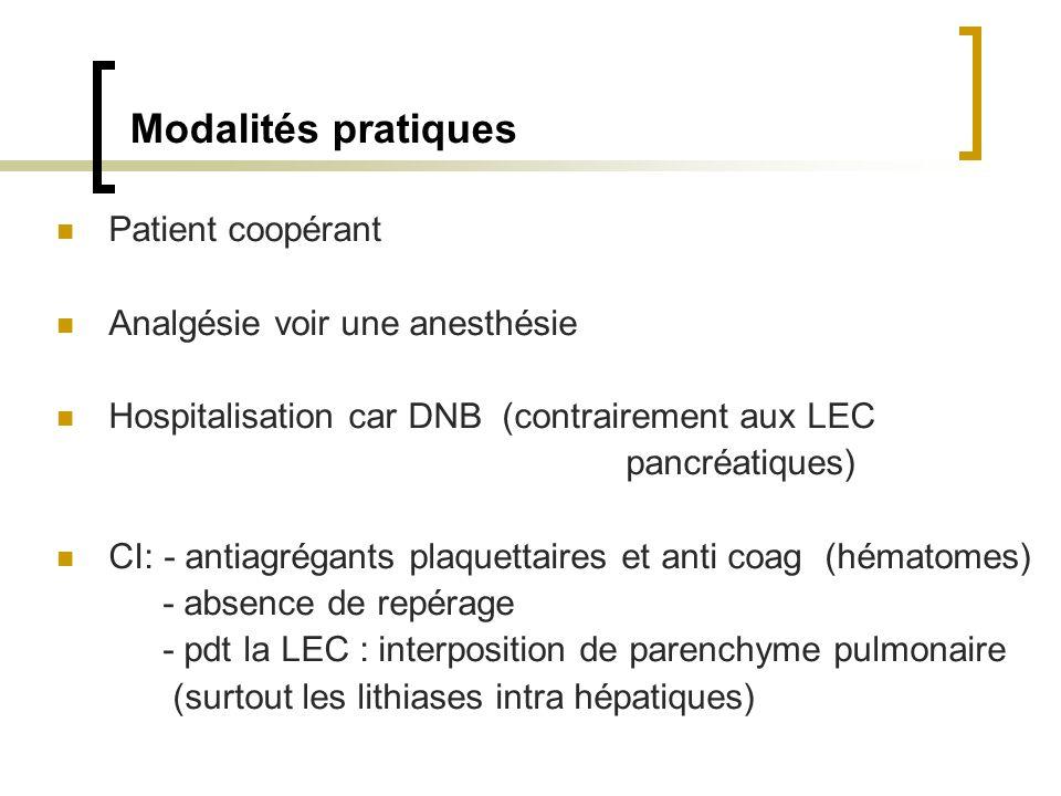 Modalités pratiques Patient coopérant Analgésie voir une anesthésie Hospitalisation car DNB (contrairement aux LEC pancréatiques) CI: - antiagrégants