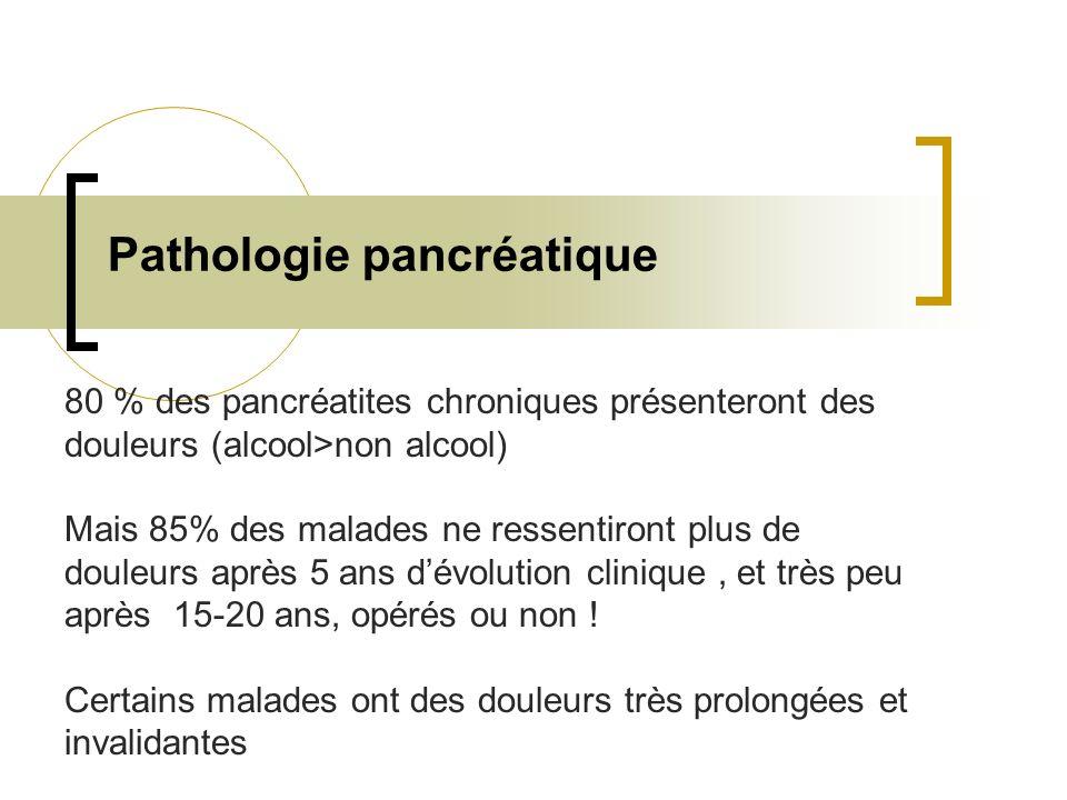 Pathologie pancréatique 80 % des pancréatites chroniques présenteront des douleurs (alcool>non alcool) Mais 85% des malades ne ressentiront plus de do