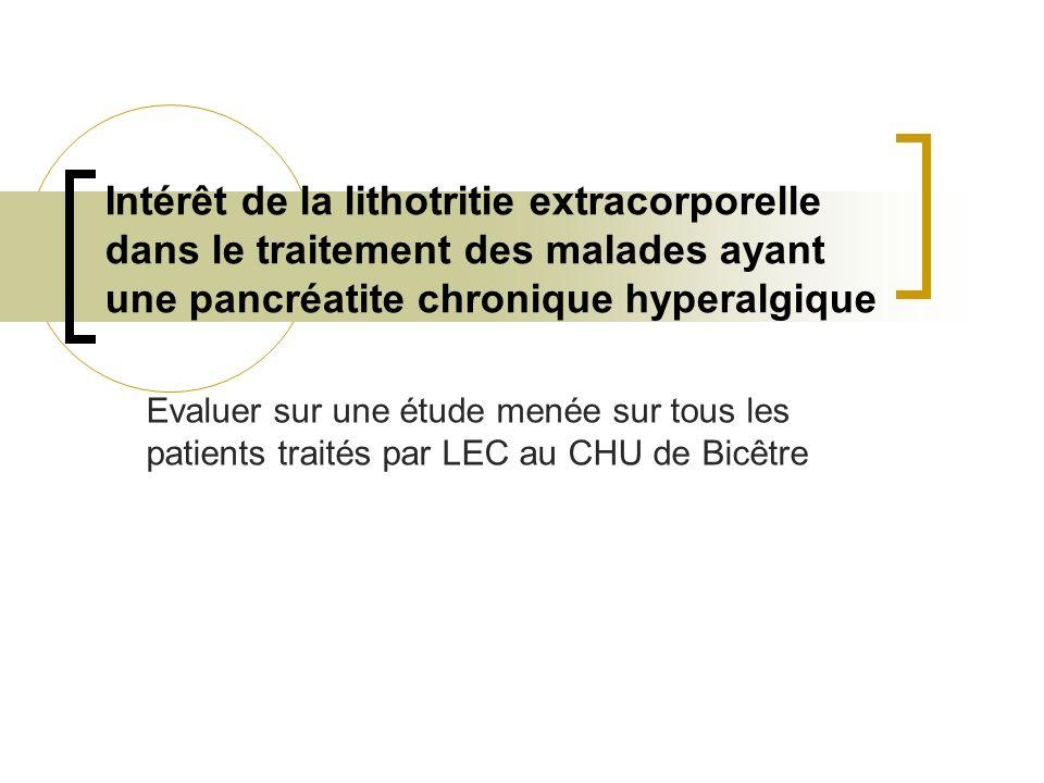 Intérêt de la lithotritie extracorporelle dans le traitement des malades ayant une pancréatite chronique hyperalgique Evaluer sur une étude menée sur