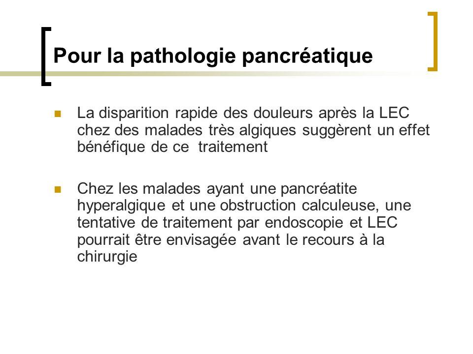 Pour la pathologie pancréatique La disparition rapide des douleurs après la LEC chez des malades très algiques suggèrent un effet bénéfique de ce trai