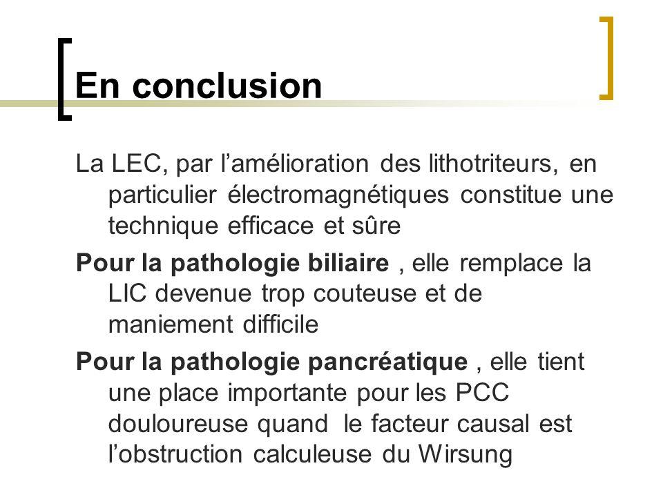 En conclusion La LEC, par lamélioration des lithotriteurs, en particulier électromagnétiques constitue une technique efficace et sûre Pour la patholog