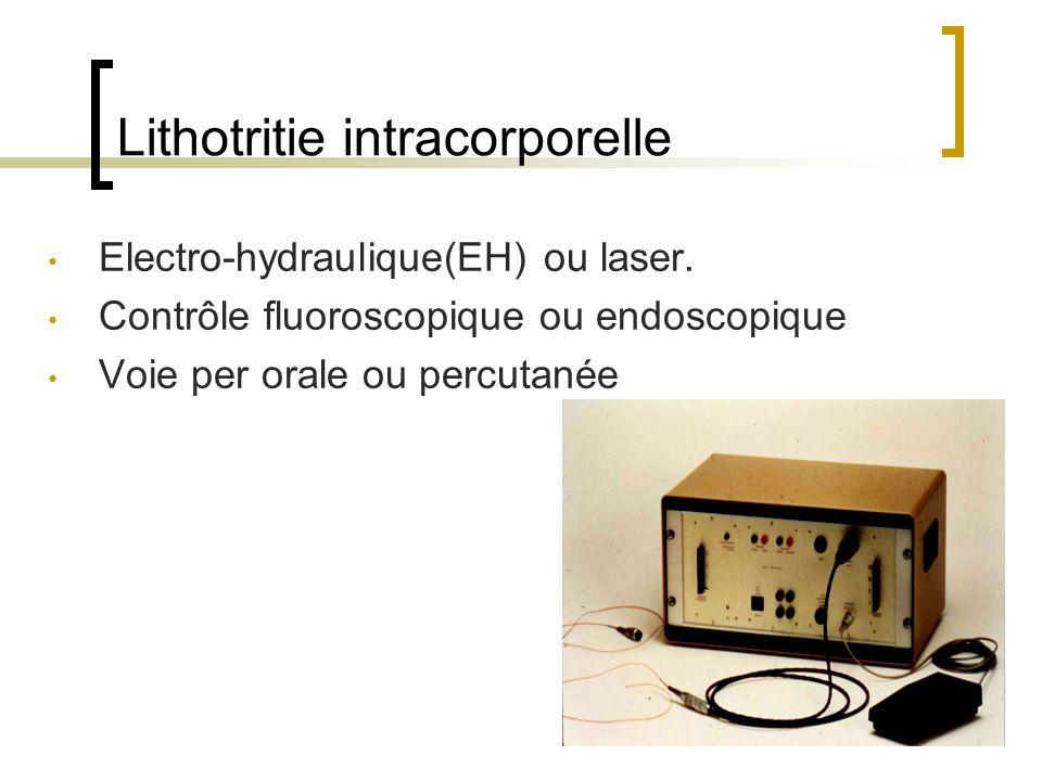 Lithotritie intracorporelle Electro-hydraulique(EH) ou laser. Contrôle fluoroscopique ou endoscopique Voie per orale ou percutanée