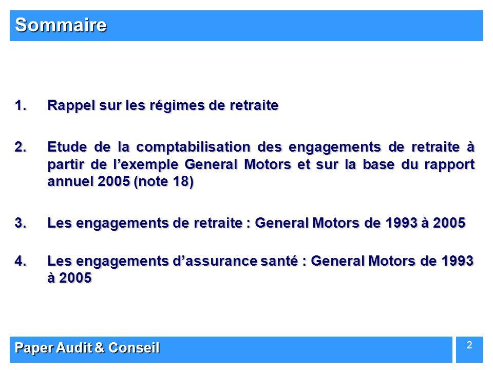 Paper Audit & Conseil 2 1.Rappel sur les régimes de retraite 2.Etude de la comptabilisation des engagements de retraite à partir de lexemple General M